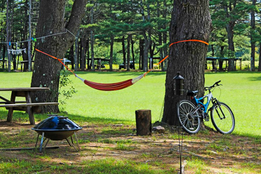 Eastern Slope Camping Area Bicycle Next to Hammock